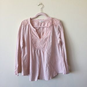 Anthropologie Meadow Rue Peach Lacey Blouse